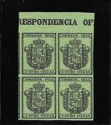 ESPAÑA CORRESPONDENCIA OFICIAL SERVICE YVERT NR. 3 BLOC DE QUATRE MNH SUPERBE AVEC INSCRIPTION MARGINALE TRES RARE - Dienstpost