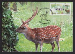 Taiwan R.O.CHINA - ATM Frama -Maximum Card.- Sika Deer #121 Blue Imprint - ATM - Frama (vignette)