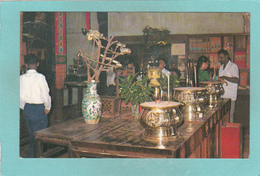 Old Postcard Of Inside Snake Temple.Penang, Malaysia,Y67. - Malaysia