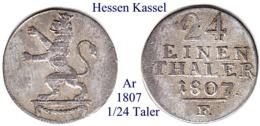 DL-1807, 1/24 Taler, Hessen-Kassel - Piccole Monete & Altre Suddivisioni