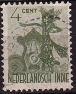 Ned. Indië: Langstempel BRASTAGI (153) Op1948 Inheemse Dansers 4 Cent Groen NVPH 335 - Indes Néerlandaises