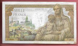 Billet De 1000 Francs  Déesse Démète U.3948  726  - J.M. 11-2-1943 J.M. - 1871-1952 Antichi Franchi Circolanti Nel XX Secolo