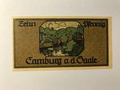 Allemagne Notgeld Camburg 10 Pfennig - [ 3] 1918-1933 : Weimar Republic