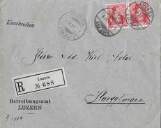 HEIMAT LUZERN - 1909 R-Brief Betreibungsamt LUZERN Nach Hägglingen/AG, SBK-2x104 - Schweiz