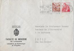 HEIMAT WAADT - 1947 OFFICIEL Faculté De Médcine De Lausanne, Brief Nach Paris - Suisse