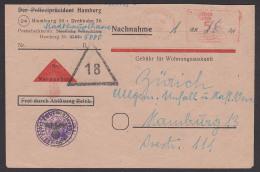 Hamburg Aptierter Post-Freistempel  4.7.46, Abs. Stadthauptkasse, Nachnahme, Vordruckbf Frei Durch Ablösung Apt. Hoheits - Bizone