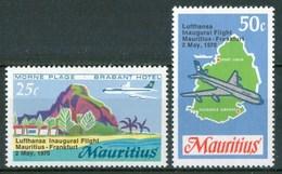 1970 Mauritius Lufthansa Inaugural Flight Mauritius - Frankfurt  Aerei Aircraft Avions Set MNH** - Mauritius (1968-...)
