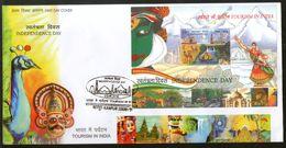 India 2016 Tourism Taj Mahal Peacock Tiger Bird Wildlife Painting Mask M/s FDC Inde Indien - FDC