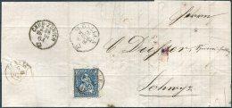 1864 Switzerland G.A. Weigmann, St Gallen Entire - Crispin Dusser, Schwyz. Chur - Zurich TPO, Railway - 1862-1881 Helvetia Assise (dentelés)