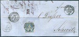 1866 Bauhofer Egger, Tubach Invoice Rorschach - Crispin Dusser, Schwyz. St Gallen - Zurich / Luzern - Olten - Luzern TPO - 1862-1881 Helvetia Assise (dentelés)