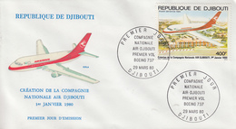 Enveloppe  FDC  1er  Jour    REPUBLIQUE   De   DJIBOUTI      Création   De  La  Compagnie   AIR  DJIBOUTI    1980 - Djibouti (1977-...)