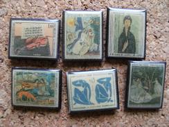 6 Pin's Timbre Poste Reproductions Tableaux Peintres Célébres CHAGALL MATISSE GAUGUIN DUFY MONET,plastique - Celebrities