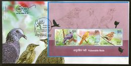 India 2017 Vulnerable Birds Nilgiri Pigeon Warbler Pipit Wildlife Fauna M/s FDC Inde Indien - FDC