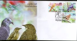 India 2017 Vulnerable Birds Nilgiri Pigeon Warbler Pipit Wildlife Fauna 3v FDC Inde Indien - FDC