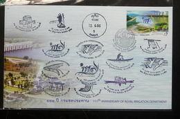 Thailand Stamp FDC 2013 111th Ann Royal Irrigation Department +P+C - Thailand