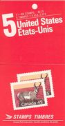 CANADA, 1990, Booklet 124, 5x45c, Pronghorn - Ganze Markenheftchen