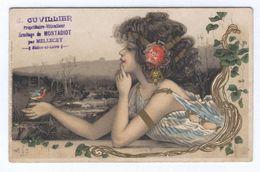 Femme Oiseau Or Style MUCHA Art Nouveau (tampon Viticulteur De MONTADIOT) - 1900-1949