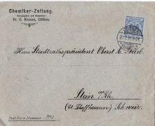1898 CÖTHEN / KÖTHEN (Anhalt) - Brief Chemiker Zeitung Nach Stein A.Rh. Schweiz - Deutschland