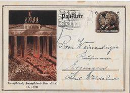 1933 POSTKARTE - Deutschland, Deutschland über Alles! Karte Nach Waldshut - Deutschland