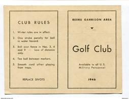 Carton De Parcours Golf : Reims 1946 US Army Situé à Gueux     A  VOIR !!! - Unclassified
