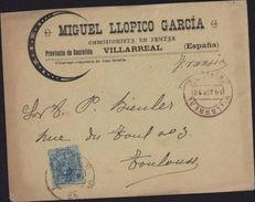 Enveloppe Illustrée Miguel Llopico Garcia Comisionista En Frutas Villarreal Espana Castellon YT 248 18 Sept 12 - 1889-1931 Regno: Alfonso XIII