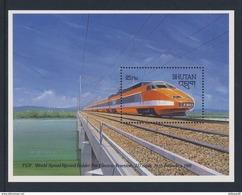 "Bhutan 1988 B160 = Mi 1071 ** French ""TGV"" Express Train - World Speed Record Holder Electric Traction - Treinen"