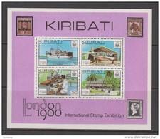Kiribati 1980 London Stamp Exhibition Miniature Sheet MNH  Ship Plane Communication - Kiribati (1979-...)