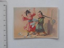 CHROMO: Humour Japonais Dispute Couple Asie Assiette Brisée Cheveu Natte - Autres