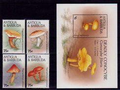 (007-08) Antigua  Mushrooms / Champignons / Pilze / Fungi  ** / Mnh  Michel 2324-27 + BL 338 - Antigua Et Barbuda (1981-...)