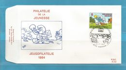 FDC 1984 ... SMURF / SCHTROUMF JEUGFILATELIE  Env...ZIE SCAN.  SUPER SALE ....... FD35 - FDC