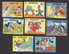 Tanzania, Scott #424-431, Mint Hinged, Disney Characters, Issued 1988 - Tanzania (1964-...)