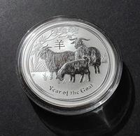 Australia, Lunar II 2015 Goat 1 Oz Silver 999 Pure - 1 Oncia Argento Puro Bullion Perth Min - Australia