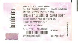 TICKET ENTREE MUSEE MAISON ET JARDINS DE CLAUDE MONET - Tickets D'entrée