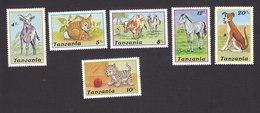 Tanzania, Scott #434-439, Mint Hinged, Domestic Animals, Issued 1988 - Tanzania (1964-...)
