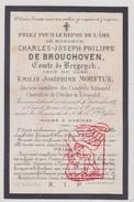 DP Adel Noblesse Ch. J. De Brouchoven De Bergeyck ° Brussel † Antwerpen 1875 X Em. J. Moretus / Beveren Melsele - Images Religieuses