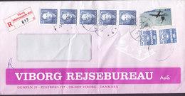 Denmark VIBORG REJSEBUREAU Registered Einschreiben Label VIBORG (Mathiasgade Afd.) VIBORG 1995 Cover Brief 5-Stripe - Dänemark