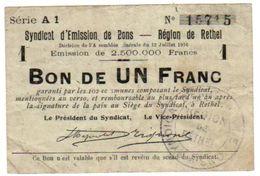 Billet Nécessité Chambre Commerce Bon Syndicat  De RETHEL  12-7-1916 - Bons & Nécessité
