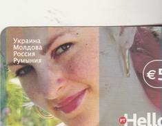 JOLIE FEMME Carte Prépayée Portugaise Rédigée En RUSSE 2010 - Russie