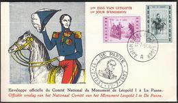 Belgium Automobiel Postkantoor 1957 / Monument Leopold I A La Panne/ FDC - 1951-60
