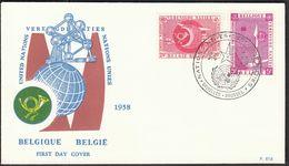 Belgium Bruxelles Brussel 1958 / UN - United Nations / UPU, UIT / FDC - FDC