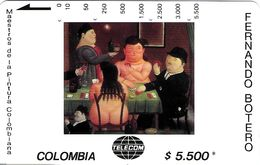 TÉLÉCARTE PHONECARD TARJETAS MAGNETIQUE COLOMBIE ART PEINTURE ARTISTE PEINTRE BOTERO 5 $ PARTIE CARTES - Colombia