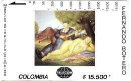 TÉLÉCARTE PHONECARD TARJETAS MAGNETIQUE COLOMBIE ART PEINTURE ARTISTE PEINTRE BOTERO 15 $ FEMME NUE COUPLE - Colombia
