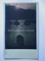 TRIESTE Vecchia Cartolina Barche Notturno - Trieste