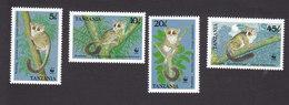 Tanzania, Scott #468-471, Mint Hinged, Bushbabies, Issued 1989 - Tanzania (1964-...)