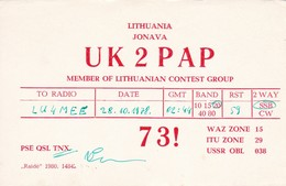 UK2PAP LITHUANIA/LITUANIA CIRCA 1978 - QSL CARD - RADIOAFICIONADOS/RADIO HAM - BLEUP - Amateurfunk