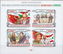 Burundi MNH Chinese Leaders Imperforated Sheetlet And SS - Mao Tse-Tung