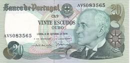 BILLETE DE PORTUGAL DE 20 ESCUDOS ORO  AÑO 1978   (BANKNOTE) SIN CIRCULAR-UNCIRCULATED - Portugal