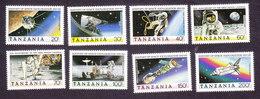 Tanzania, Scott #498-505, Mint Hinged, History Of Space Exploration, Issued 1989 - Tanzania (1964-...)