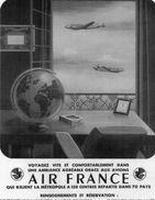 Publicité AIR FRANCE - Avions, Mappemonde - Flugwesen