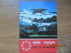 REVUE SABENA MAGAZINE NOVEMBRE 1966  EXPO 67 MONTREAL - Tourisme & Régions